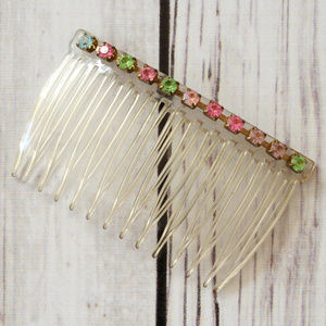 vintage pink blue green rhinestone hair comb clip